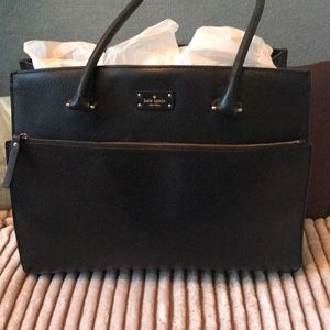 Kate Spade Black Leather Laptop Bag